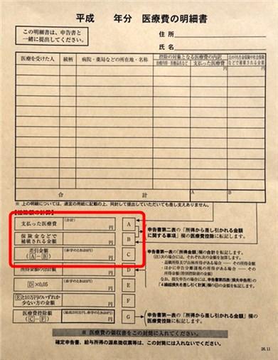 医療費控除 封筒 表2